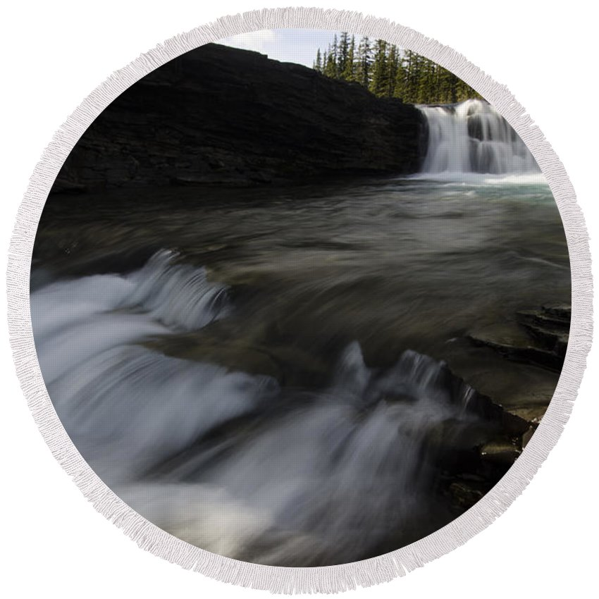 Sheep River Round Beach Towel featuring the photograph Sheep River Falls Alberta Canada 1 by Bob Christopher