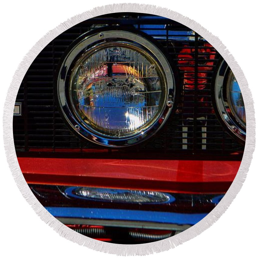 Ford Round Beach Towel featuring the photograph Shelby Gt 500 Mustang 3 by Tommy Anderson