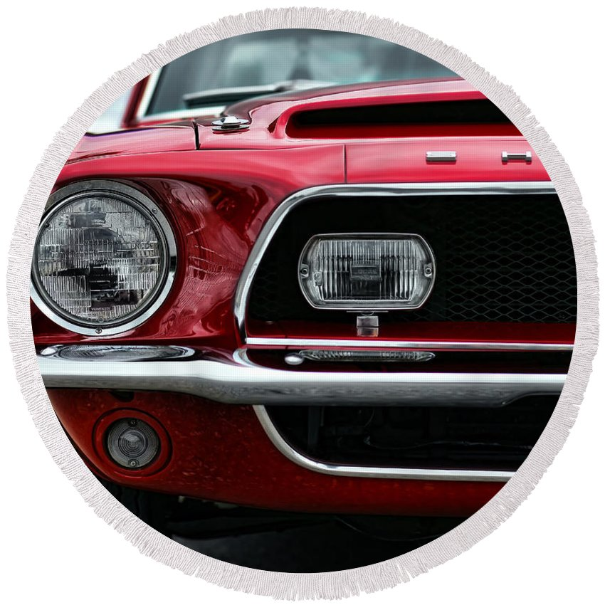 1968 Round Beach Towel featuring the photograph Shelby Mustang by Gordon Dean II