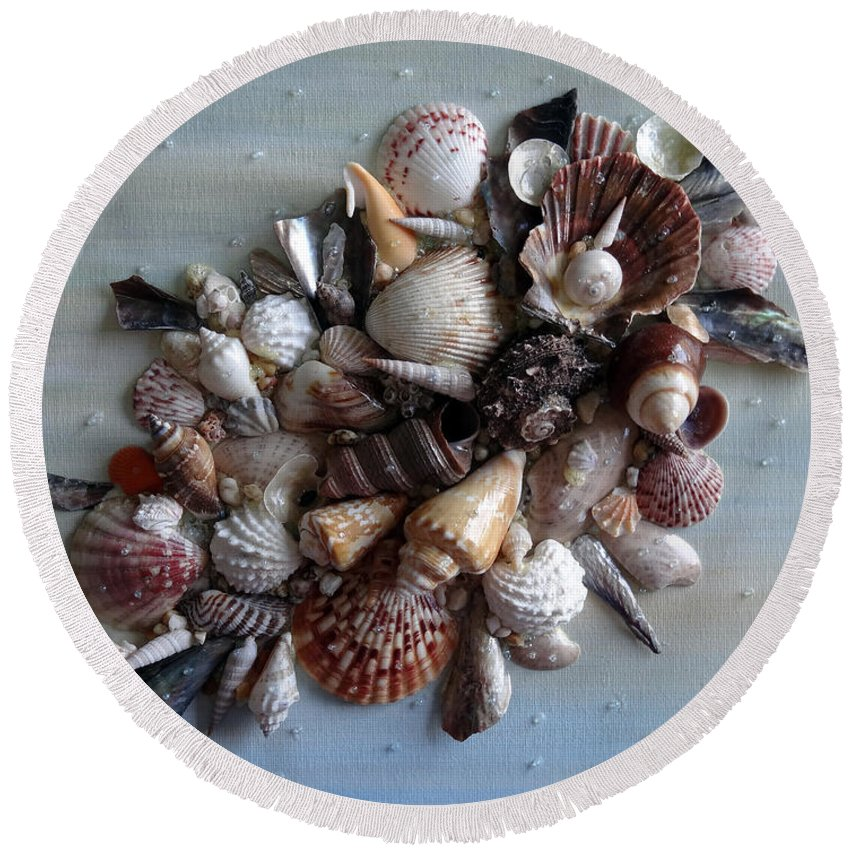 Sea Shells Round Beach Towel featuring the photograph Shell Bouquet No.4 by Karin Dawn Kelshall- Best