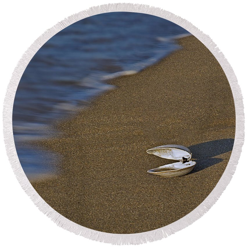 Sea Shell Round Beach Towel featuring the photograph Shell By The Shore by Susan Candelario