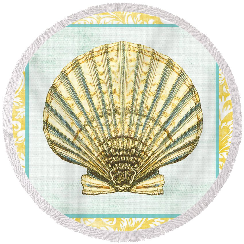 Nautical Round Beach Towel featuring the digital art Shell Finds-a by Jean Plout