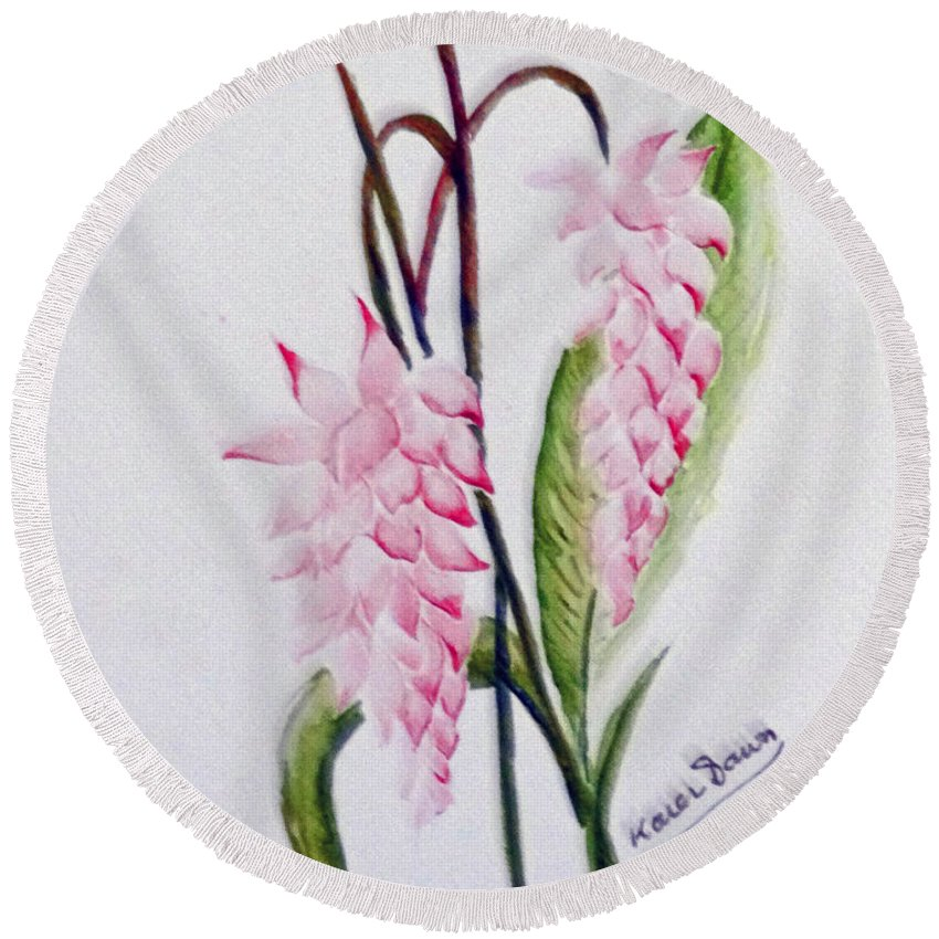 Tropical Ginger Round Beach Towel featuring the painting Shell Ginger by Karin Dawn Kelshall- Best