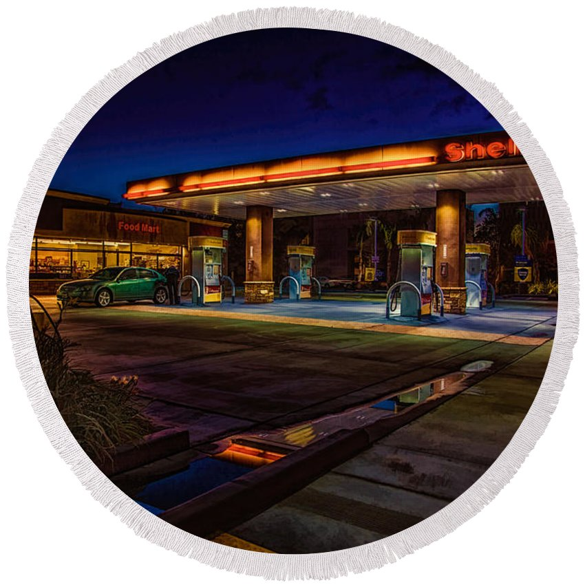 Shell Round Beach Towel featuring the photograph Shell Station by Chris Lord