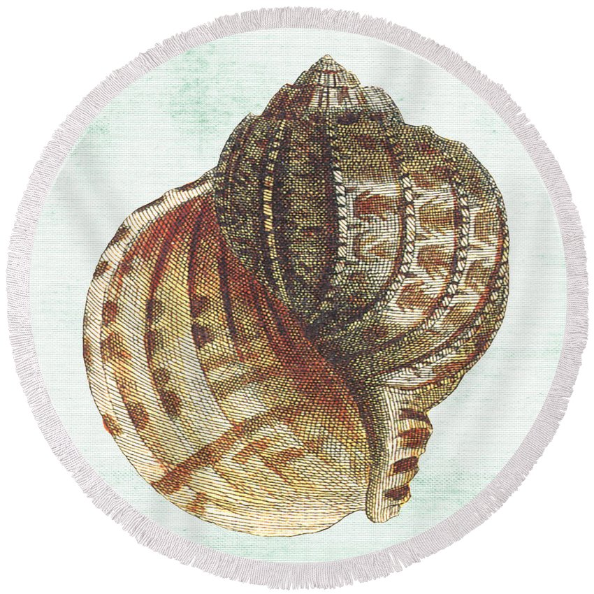 Nautical Round Beach Towel featuring the digital art Shell Treasure-c by Jean Plout
