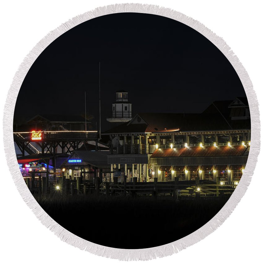 Shem Creek Round Beach Towel featuring the photograph Shem Creek At Night by Dale Powell