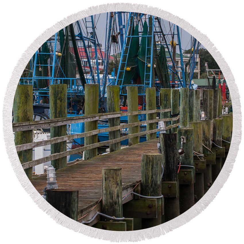 Pier Round Beach Towel featuring the photograph Shem Creek Pier by Dale Powell