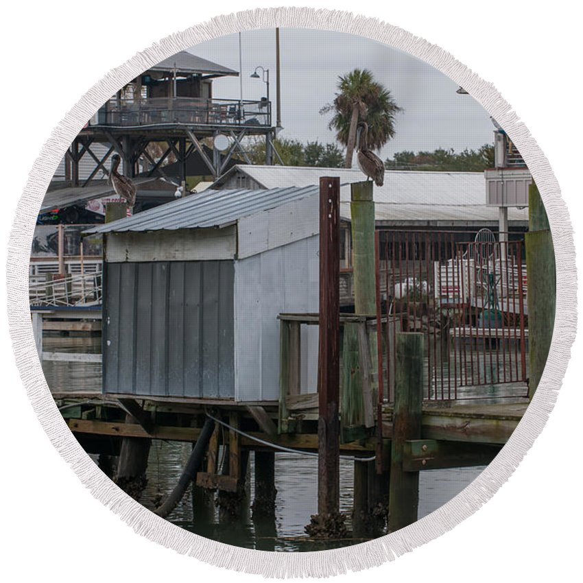 Shem Creek Round Beach Towel featuring the photograph Shem Creek Resturants by Dale Powell