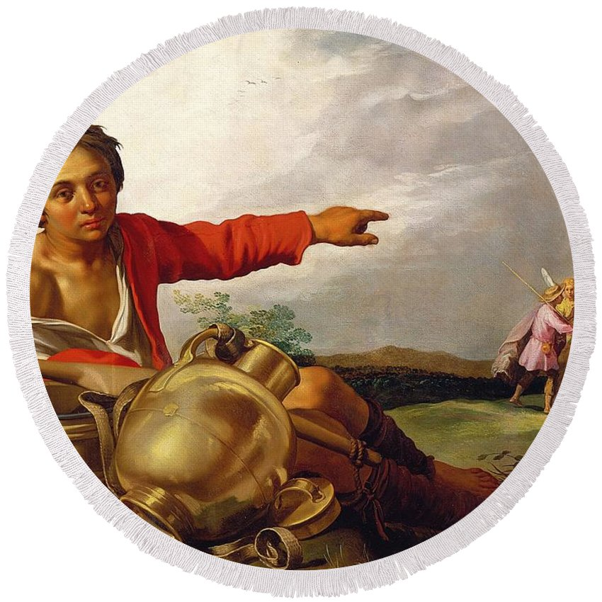Pointing Round Beach Towel featuring the painting Shepherd Boy Pointing At Tobias And The Angel by Abraham Bloemaert