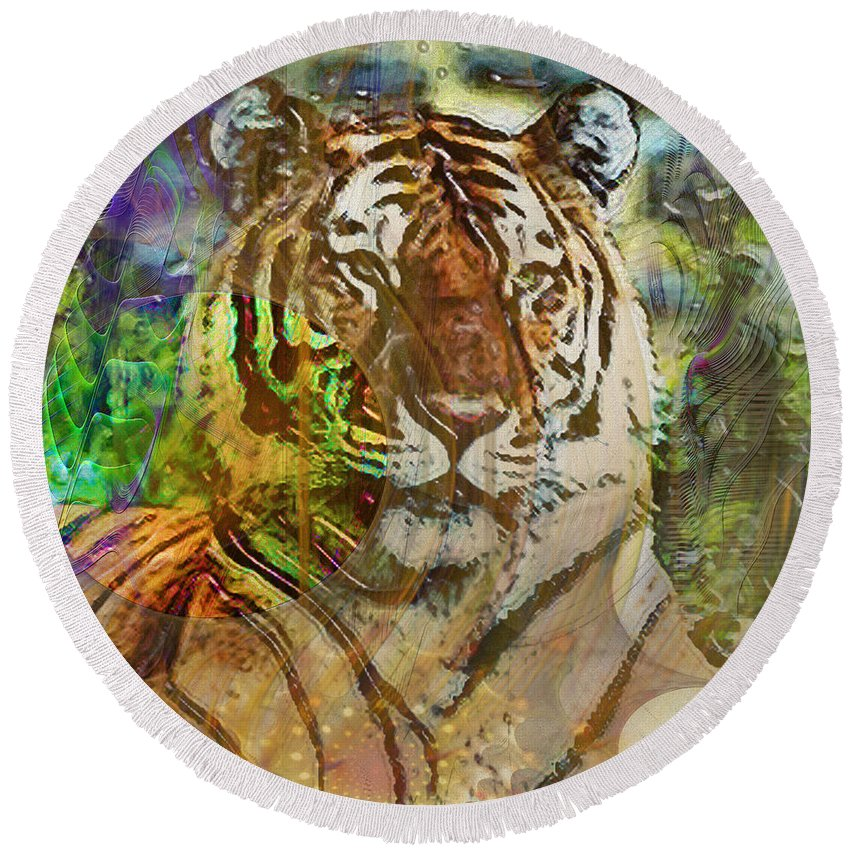 Tiger Round Beach Towel featuring the digital art Shere Khan - Square Version by John Beck