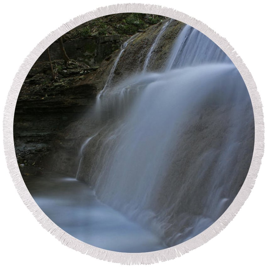 Waterfall Round Beach Towel featuring the photograph Sherman Falls by Barbara McMahon