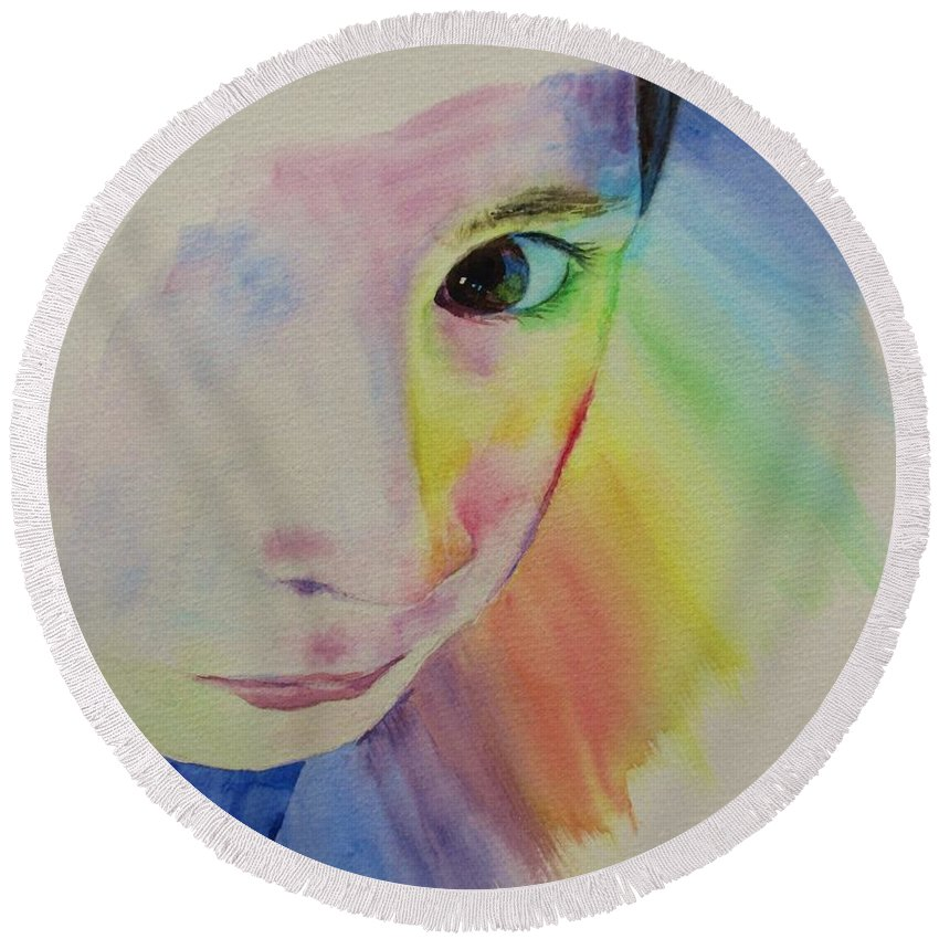 Abstract Round Beach Towel featuring the painting She's A Rainbow by Martin Howard