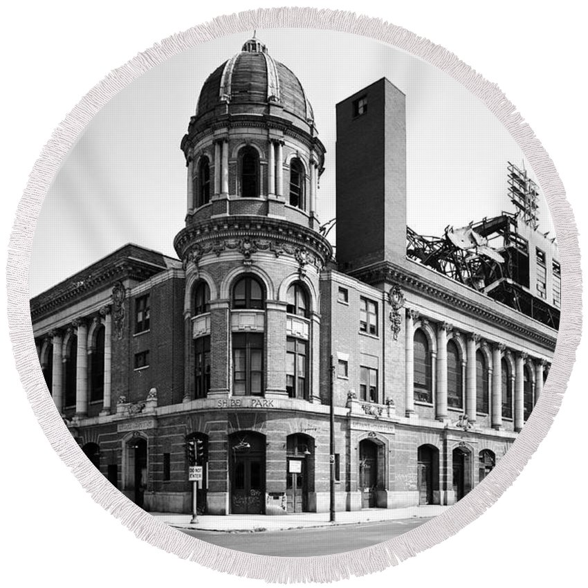 Shibe Park In Black And White Round Beach Towel featuring the photograph Shibe Park In Black And White by Bill Cannon
