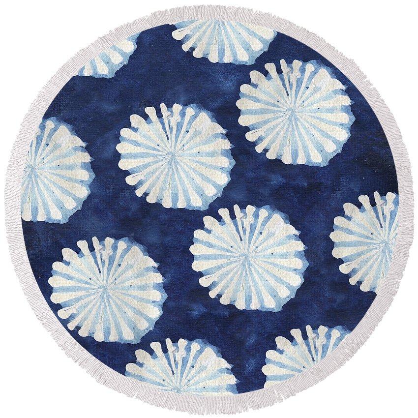 Shibori Round Beach Towel featuring the digital art Shibori IIi by Elizabeth Medley