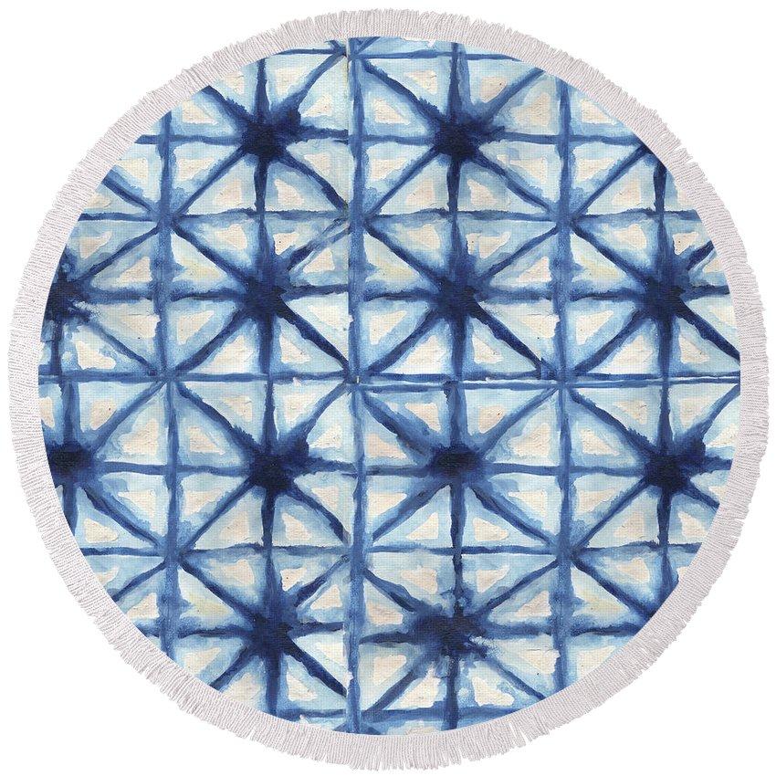 Shibori Round Beach Towel featuring the digital art Shibori Iv by Elizabeth Medley
