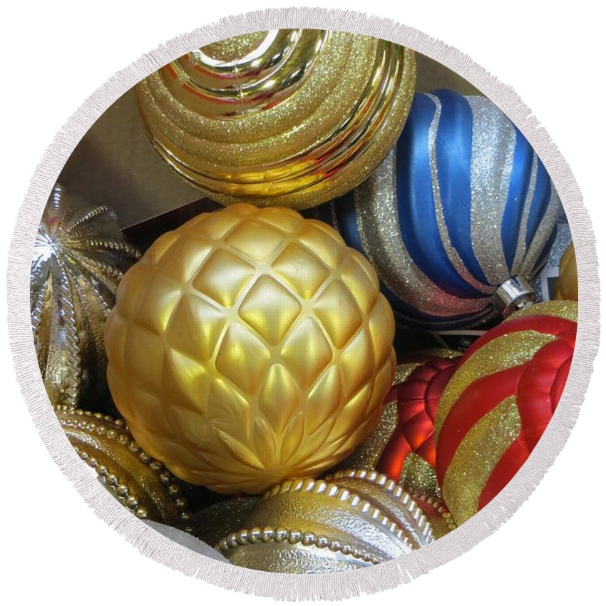 Gold Round Beach Towel featuring the photograph Shimmering Bauble by Sonali Gangane