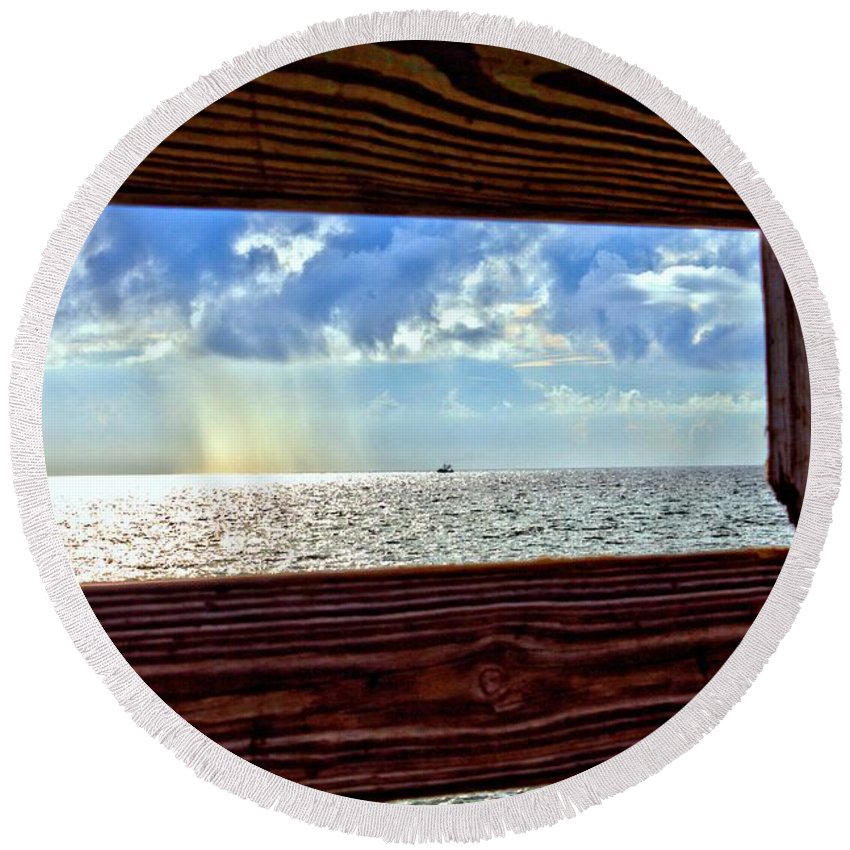 Heaven Round Beach Towel featuring the photograph Shine It Down by Tyson Kinnison
