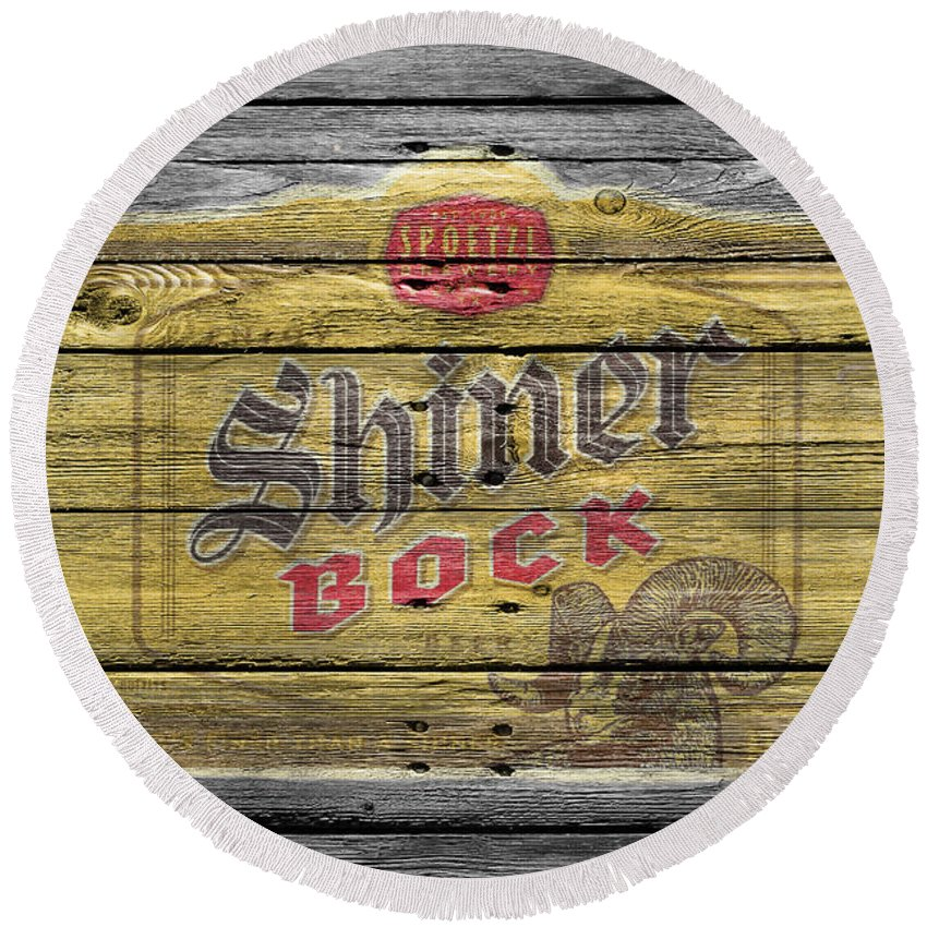 Shiner Bock Round Beach Towel featuring the photograph Shiner Bock by Joe Hamilton