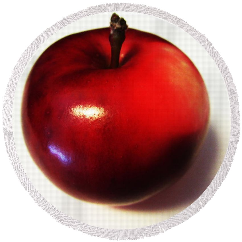 Shiny Red Apple Round Beach Towel featuring the photograph Shiny Red Apple by Martin Howard