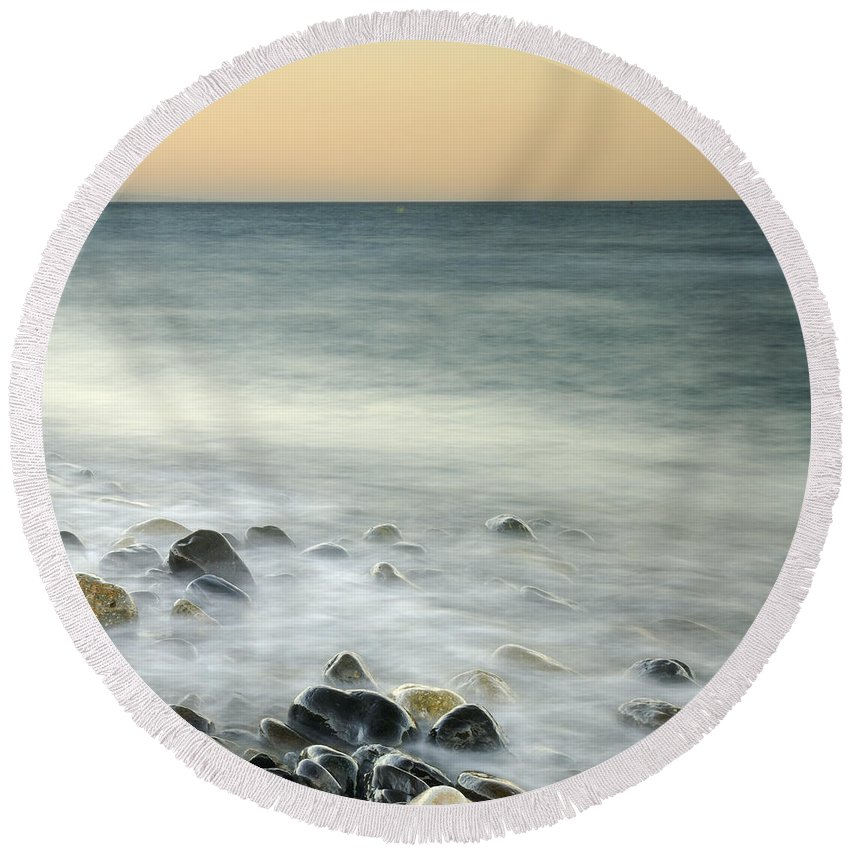 Seascape Round Beach Towel featuring the photograph Shiny Rocks At The Sea by Guido Montanes Castillo