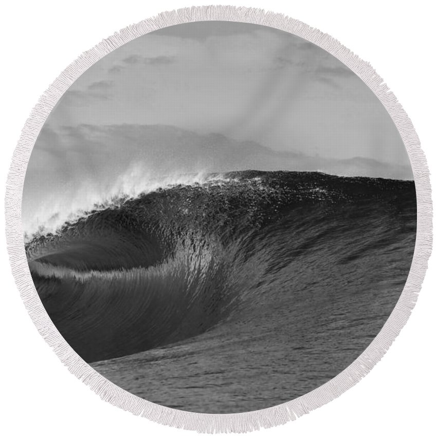 Sea Wave Round Beach Towel featuring the photograph Shiny Tunnel by Sean Davey