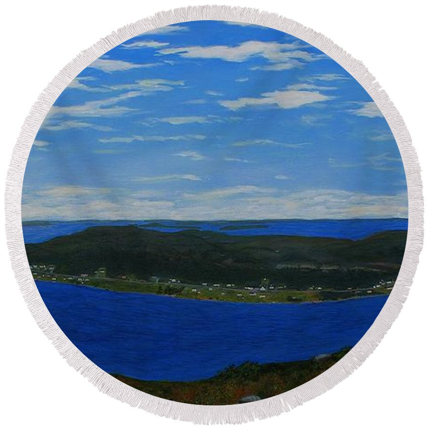 Barbara Griffin Round Beach Towel featuring the painting Ship Harbour From Sugarloaf Hill by Barbara Griffin