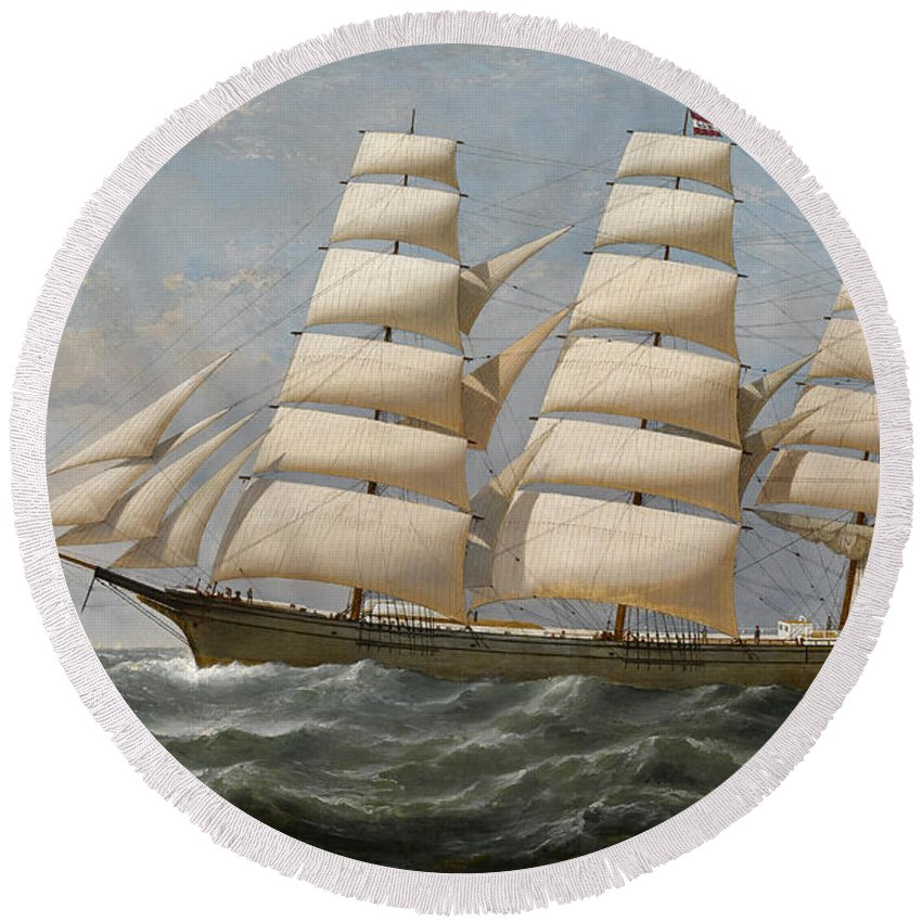 Horizon Round Beach Towel featuring the painting Ship by Samuel Walters
