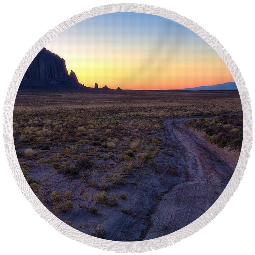 Shiprock Round Beach Towel featuring the photograph Shiprock Sunset by Pam Colander