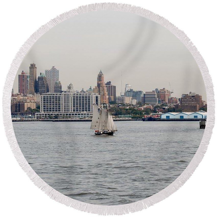 New York Round Beach Towel featuring the photograph Ships And Boats by Rob Hans