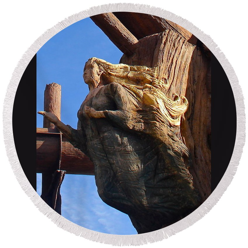 Figurehead Round Beach Towel featuring the photograph Ship's Figurehead by Denise Mazzocco