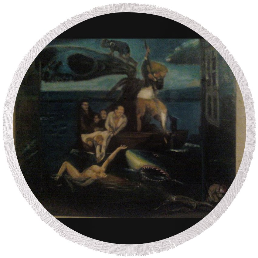 Round Beach Towel featuring the painting Shipwrecked Psyche Unfinished by Jude Darrien