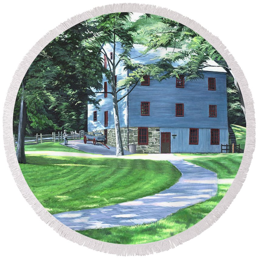 Shoaff's Mill Round Beach Towel featuring the painting Shoaff's Mill by Christopher Lyter