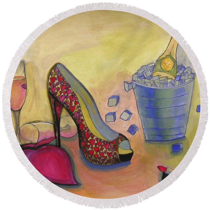 Hearts Round Beach Towel featuring the painting Shoe And Celebration by Lamario Jackson