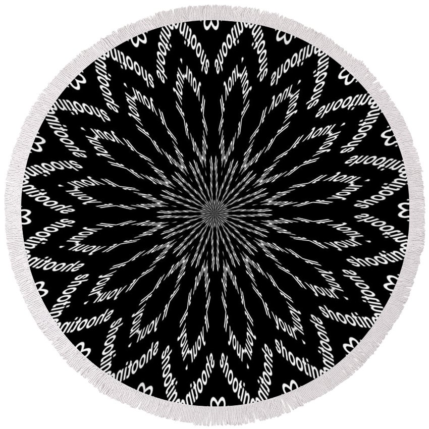Black Round Beach Towel featuring the digital art Shooting Star Black And White Kaleidoscope by Taiche Acrylic Art
