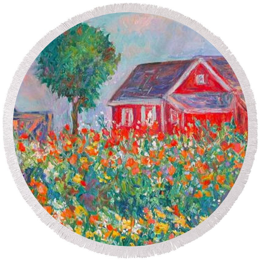 Landscape Round Beach Towel featuring the painting Shore Flowers by Kendall Kessler