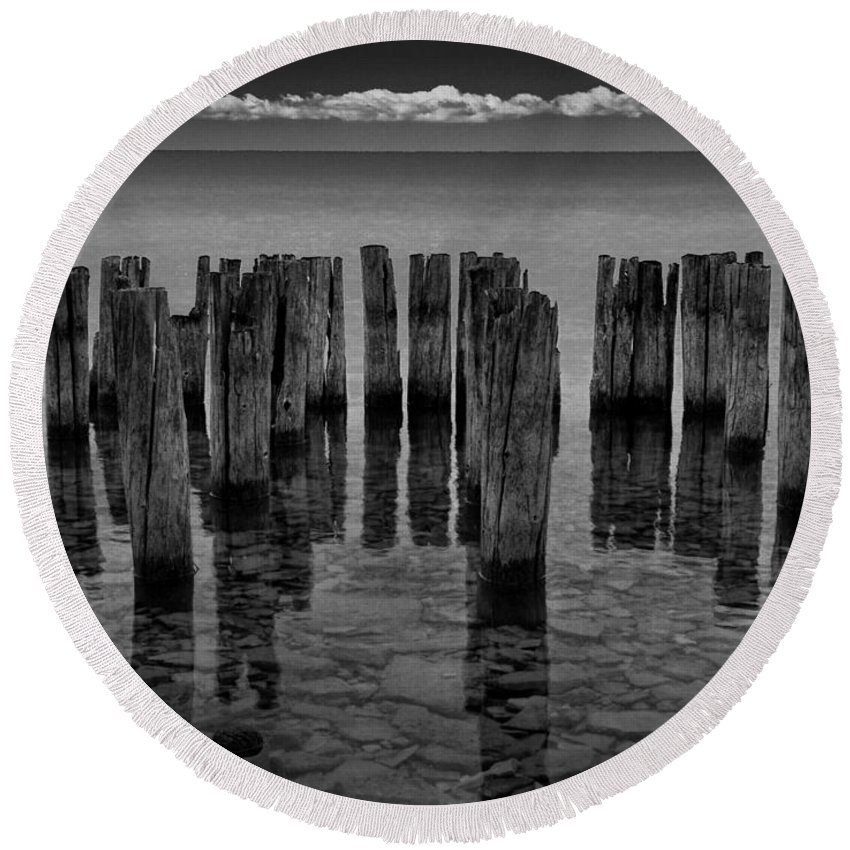 Art Round Beach Towel featuring the photograph Shore Pilings At Fayette State Park by Randall Nyhof
