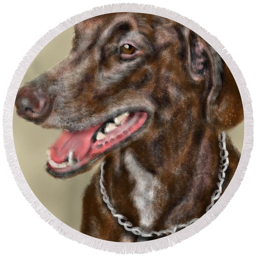 Animal Round Beach Towel featuring the painting Short Hair Pointer by Lois Ivancin Tavaf