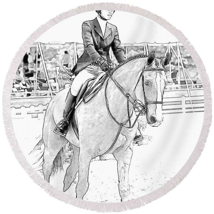 Horse Round Beach Towel featuring the photograph Showjumper by Alice Gipson