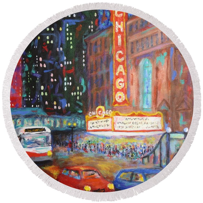 Chicago Round Beach Towel featuring the painting Showtime by J Loren Reedy