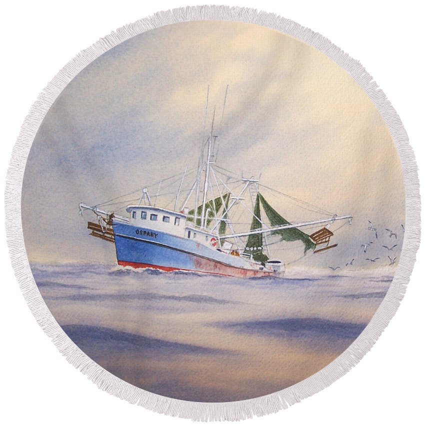 Shrimp Boat Round Beach Towel featuring the painting Shrimp Boat On The Gulf by Bill Holkham