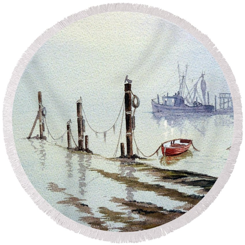 Florida Paintings Round Beach Towel featuring the painting Shrimp Boat With Evening Lights by Bill Holkham