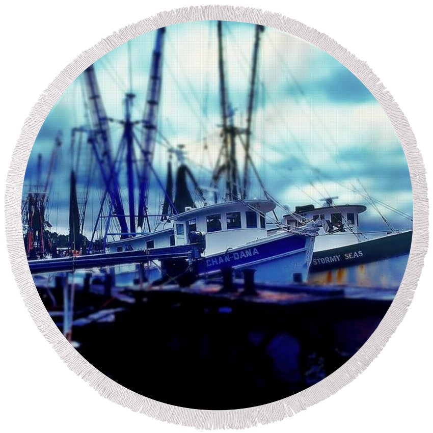 Fine Art Round Beach Towel featuring the photograph Shrimp Boats by Rodney Lee Williams
