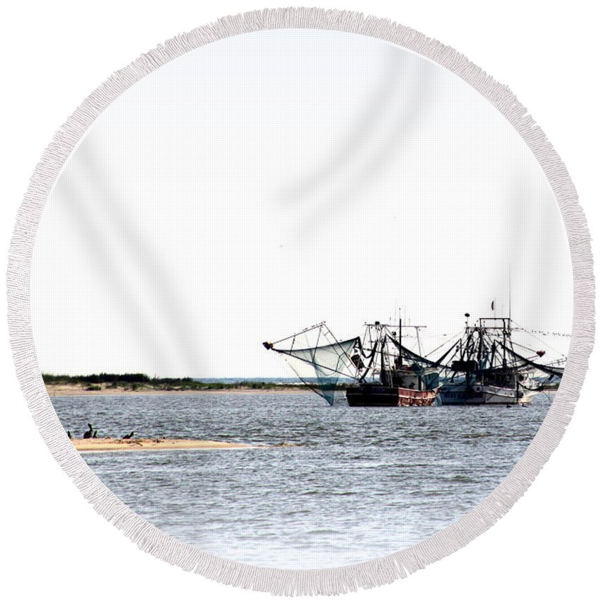 Shrimp Round Beach Towel featuring the photograph Shrimpers With Pelicans - Waiting On Shore by Travis Truelove