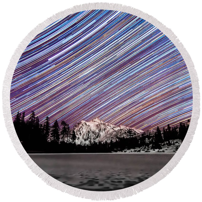 Star Trails Round Beach Towel featuring the photograph Shuksan Past Midnight by Ryan McGinnis
