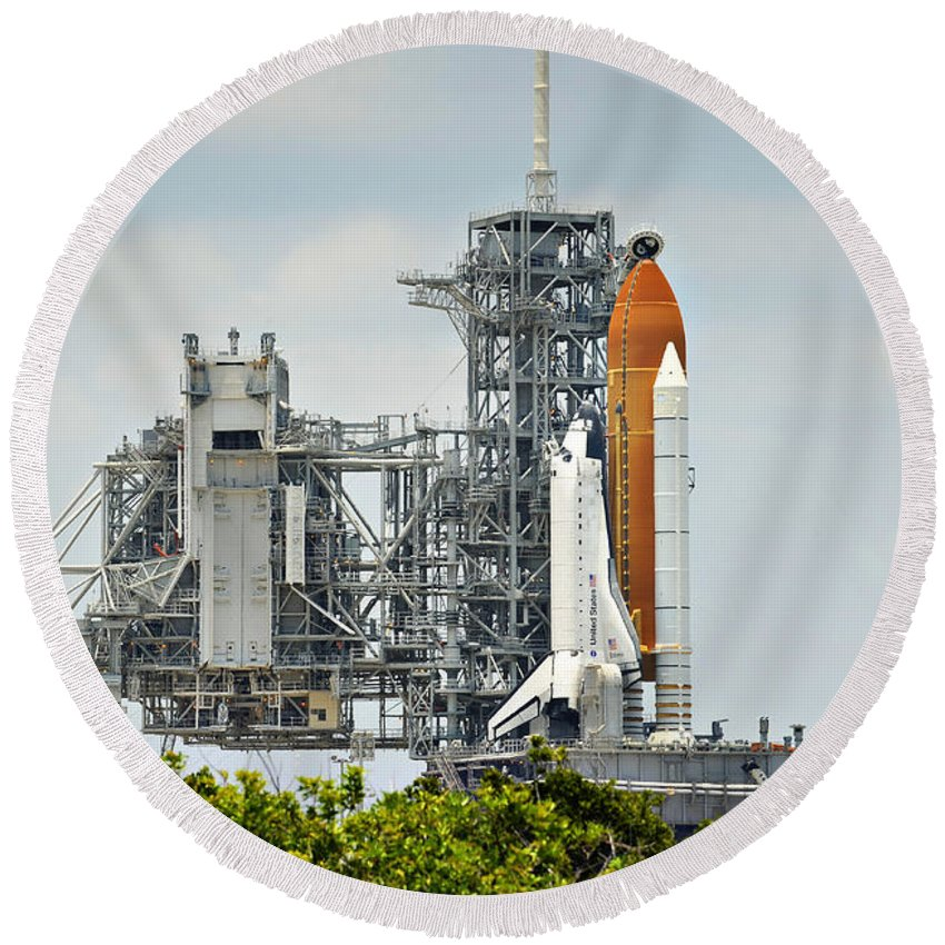 Sts Round Beach Towel featuring the photograph Shuttle Endeavour Is Prepared For Launch by Ricky Barnard