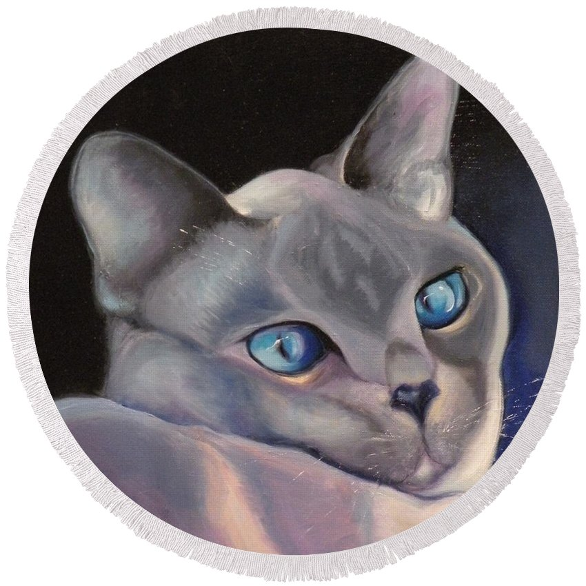 Cat Siamese Greeting Card Round Beach Towel featuring the painting Siamese In Blue by Susan A Becker