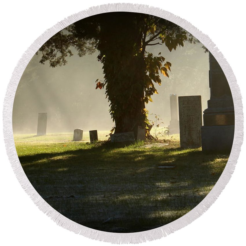 Grave Round Beach Towel featuring the photograph Sibley Cemetery by Lynn Sprowl