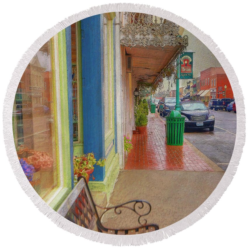 City Round Beach Towel featuring the photograph Sidewalk Shot Weston Missouri by Liane Wright