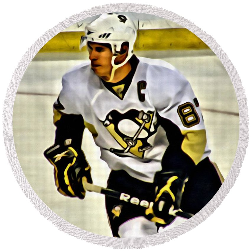 Sidney Crosby Round Beach Towel featuring the painting Sidney Crosby by Florian Rodarte