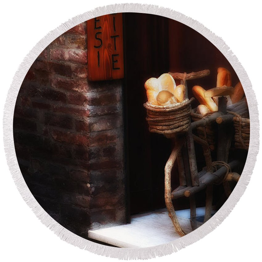 Siena Round Beach Towel featuring the photograph Siena Bakery by Mike Nellums